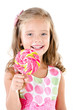 canvas print picture - Happy little girl with lollipop isolated on a white