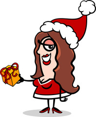 girl santa with present cartoon