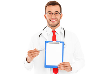 Doctor showing documents