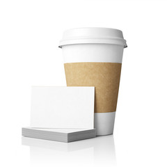 Template of paper cups and cards