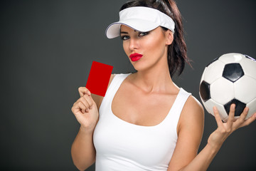 Sexy woman giving red card