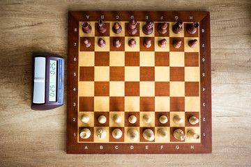 Chessboard with chess and clock