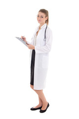 young attractive woman doctor with document isolated on white