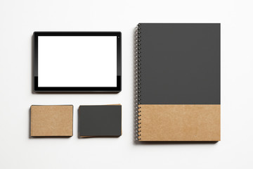 Business cards, tablet and note mockup