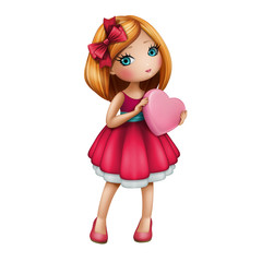 Valentines day cute girl with heart, isolated illustration