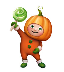 cute kid in pumpkin costume, Halloween illustration