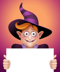 Halloween character, boy in hat holding blank banner