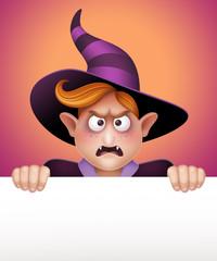 angry vampire boy holding banner, Halloween illustration
