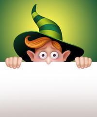 scared wizard boy behind blank banner, Halloween illustration