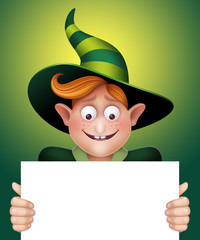 surprised boy holding blank banner, Halloween illustration