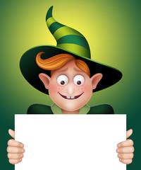 surprised boy holding blank banner, Halloween illustration