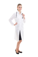 full length young female doctor isolated on white