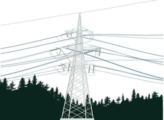 light electric power pylon in dark forest