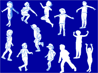 twelve child silhouettes collection isolated on blue