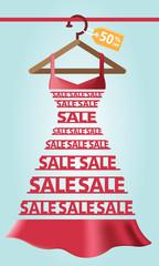 Woman dress, shopping, sale, typography