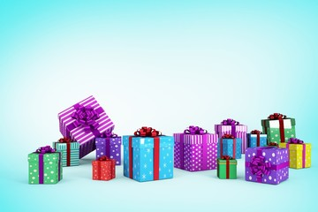 Composite image of many colourful christmas gift boxes