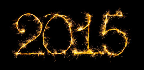 Happy New Year - 2015 with sparklers