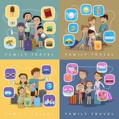 Family Travel Against Color Background - Vector Illustration