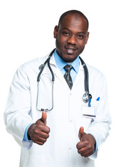 Portrait of a smiling male doctor with  finger up on white