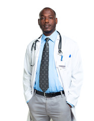 Portrait of a male doctor on white