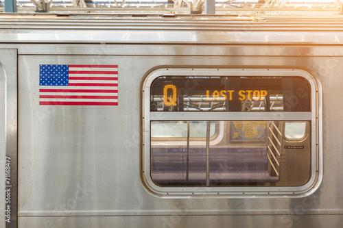 United States Flag on a Subway Train - 71168477