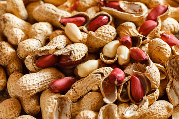 peanuts on wood background