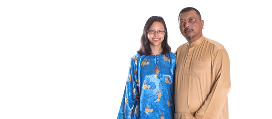 Middle age Asian Malay father and teen daughter
