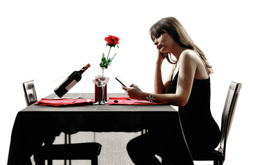 lover woman waiting for dinner silhouettes