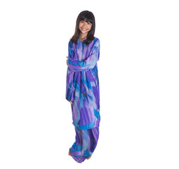 Teenage Asian Malay girl in traditional dress