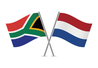Netherlands and South African flags. Vector illustration.