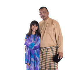 Asian Malay middle age father and teen daughter
