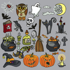 Halloween Witch spooky elements set