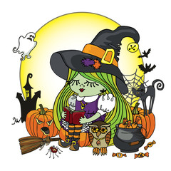 Halloween Witch girl reading book. Illstration