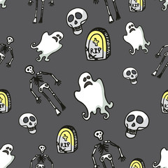 Halloween seamless pattern.Skeleton,Ghost,tombstone,skull