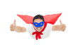 superman flying and thumb up with red cape