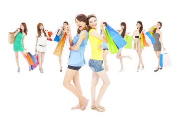 asian shopping women group holding color bags.