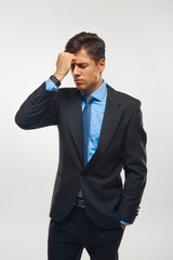 Stressed Businessman against white background