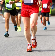 athletes of various nationalities run fast Marathon in the stree