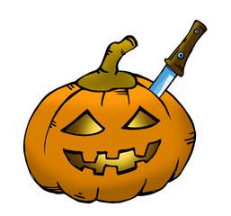 Pumpkin sketch with knife