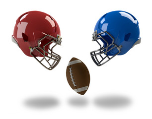 football helmets and ball isolated on white