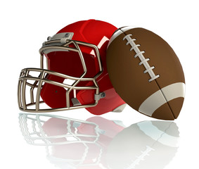 football helmet and ball on white background