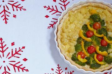 Gratin with broccoli and cauliflower for Christmas