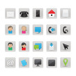 Contact And Business Icons Set - Isolated On White Background