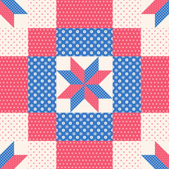 Patchwork pattern in red and blue