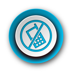 no phone blue modern web icon on white background