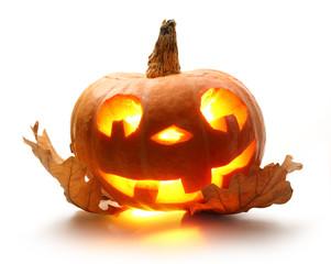 Halloween pumpkin with oak leaves