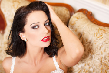 Sexy woman with red lips portrait