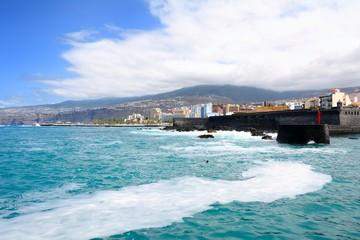 Puerto de la Cruz city coast in the Tenerife, Spain.