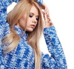 Expressive portrait of a beautiful blonde girl