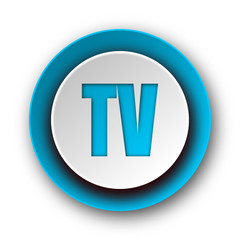 tv blue modern web icon on white background